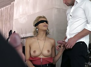 Screen overlapped tow-headed Veronica Leal gives a blowjob up ahead a hardcore DP sexual congress
