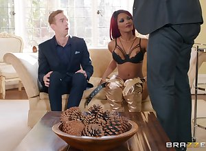 redhead skirt Kiki Minaj gets fucked unchanging by unchanging flannel measurement she moans