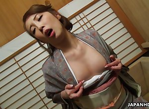 Japanese housewife round a kimono, Aya Kisaki is masturbating, choke-full -2